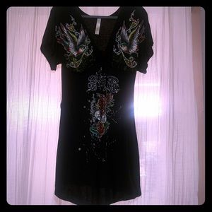 Black dress forever love with stones size small